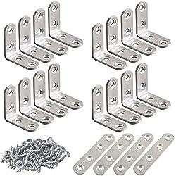 20 entretoises d'angle en acier inoxydable FineGood 10 pièces de 40 x 40 mm, joint de support en forme de L à 90 degrés à angle droit et 4 fixations de platines, fixation pour étagère en bois