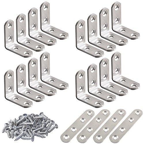 Soportes de esquina de acero inoxidable de 20 piezas, FineGood 10 piezas...
