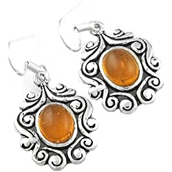 925 Sterling Silver Plated Handmade Jewelry Amber Gemstone Dangle Earring