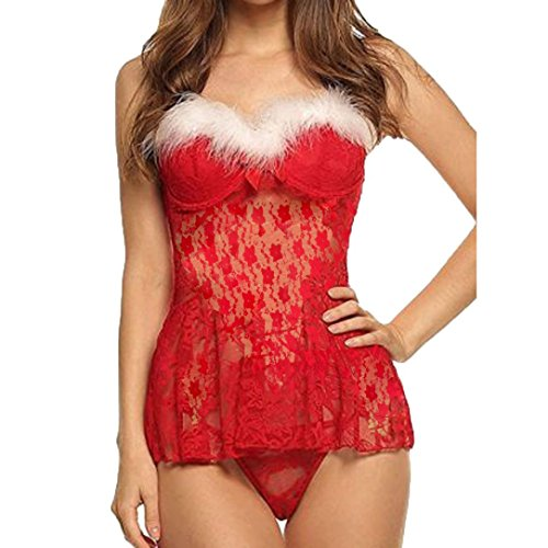 Nachtwäsche Damen Dessous Bodysuit Kragen Lace Floral Babydoll Jumpsuit Rote Unterwäsche Perspektive Unterwäsche Von Dragon868 (Rot Dessous Damen, Freie GrößE) (Floral Lace Sleepshirt)