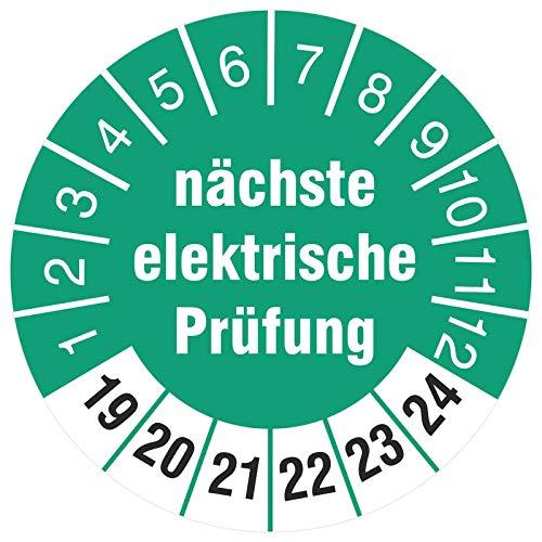 200 Stück nächste elektrische Prüfung 18 mm Prüfplaketten Prüfetiketten auf Rolle türkis 2019-2024