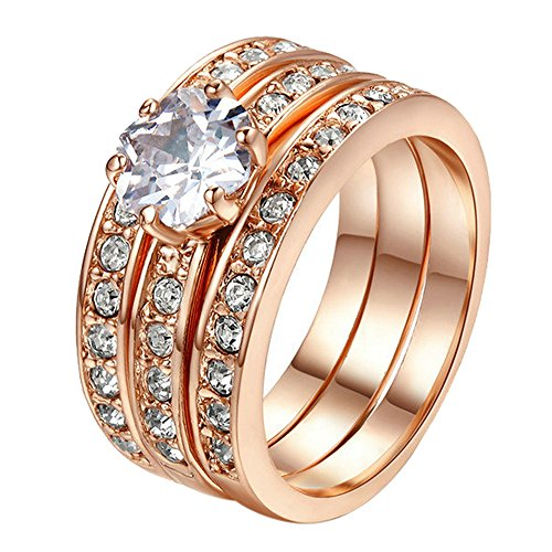 Yoursfs anillos 3 en1 anillo oro mujer 18k anillos