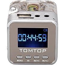 Andoer Tomtop Mini Digital Music Portatile MP3 / 4 Player micro SD / TF USB Disk dell'altoparlante FM Radio