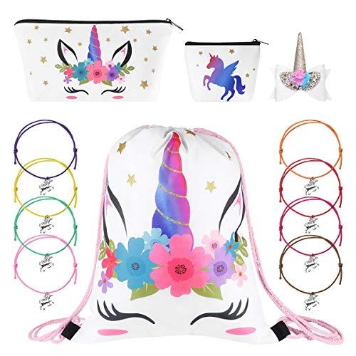 Fenical Einhorn Kordelzug Kosmetiktasche Geldbörse Haarspange und 8 STÜCKE Armbänder Einhorn Set für Kinder Party