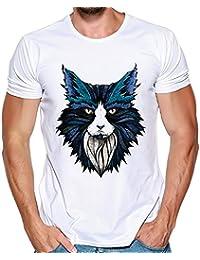 5989a0051f84f Sudadera Hombre Lanskirt Camisetas Estampadas PatróN de Lobo para Hombres  Camisetas con Cuello Redondo BáSicas Camisas Verano…