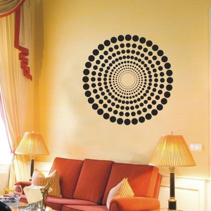 WANDTATTOO / Wandsticker w488 Kreis Punkte Points Wandaufkleber 40x40cm, schwarz (Der Kreis Der Anfang)