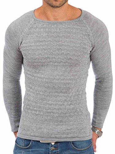 Pullover Herren Strickpullover Winter Pulli Tazzio Slim Fit Langarm Shirt Grau