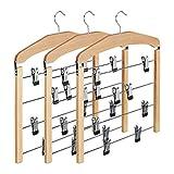 Relaxdays Rockbügel mehrfach, 3er Set Hosenbügel aus Holz, Kleiderbügel rutschfest, HBT: 45,5x39x2,5 cm, silber/natur