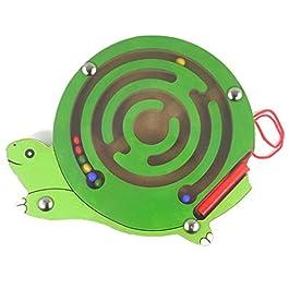 HappyToy Mini Animal Round legno magnetico bacchetta Numero labirinto interattivo labirinto perline magnete Maze sulla scheda del gioco Città di traffico Eduactional Artigianato Giocattoli (Tartaruga)