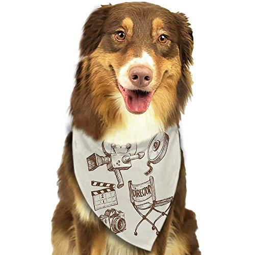 Dog Bandana Movie Theater Hand Drawn Symbols of Hollywood Oscar 3D Glasses Sketch Style Arrangement Scarf for Small and Medium Dogs and Cats