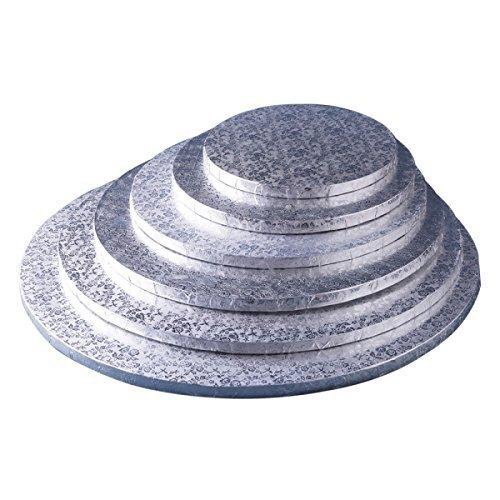 Funcakes Torten-Platte in Silber   1 Stück   rund   30cm Durchmesser   10mm flach   Stabile runde Kuchen-Platten   Alu-kaschierte Pappe   leichte Servier-Platte zum Dekorieren & Transport
