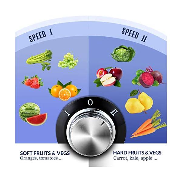 Centrifuga, Oneisall Estrattore di Succo con Funzione Antigoccia, Ultrarapida per Frutta e Verdura, Facile da Pulire con Motore Silenzioso e Piedini Antiscivolo, Acciaio Inox e Senza BPA - 2021 -