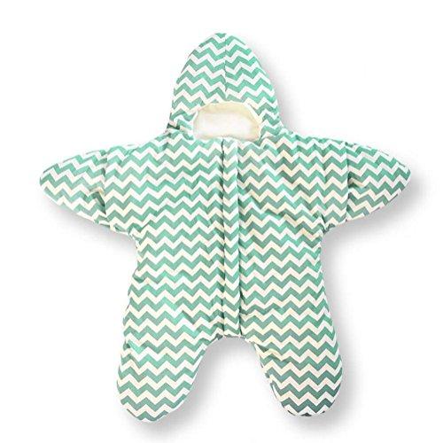 Baby Bunting Bag Schlafsack Shark Swaddling Decke Winter-100% Baumwolle - Einsatz in Outdoor-Kinderwagen oder klimatisierte Zimmer-Sommer / Winter-Dual-Use (Seestern grün)
