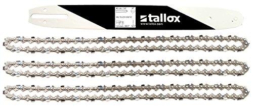 tallox Schwert und 3 Sägeketten .325 1,6 mm 67 TG 40 cm Führungsschiene Vollmeißel kompatibel mit Stihl Motorsägen