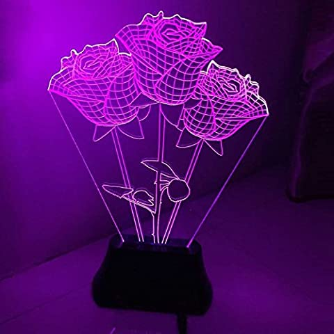 Itian Rose 3D Glow LED Lamp Stereoscopic Luminous Art Sculpture Lights up in Produces Unique Lighting Effects and 3D visualization Amazing Optical Illusion for Lover Valentine's Day Gift Christmas Mother's Day Gift