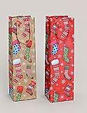 24 Stück Flaschentüten Geschenktüte für Flasche Weihnachten Strumpf Motiv Weihnachtstüte 2-fach sortiert