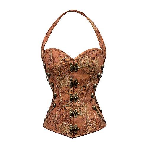 FeelinGirl Damen Korsett mit Kunstleder und Brokatmuster gotischen Stil Bustier Vintage Korsage Top...