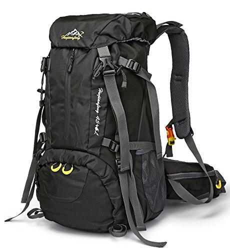 QHUI Wasserdichter Rucksack mit 45L + 5L Fassungsverm?gen aus Nylon Gro?er Trekkingrucksack mit Regenschutzhülle perfekt zum Wandern Bergsteigen Reisen und für Sport und Camping (Schwarz)