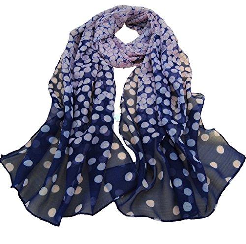 TUDUZ Women Scarves Ladies Dot Print Long Soft Wrap Elegant Shawl Silk Chiffon Scarf (Navy, 160*50cm)
