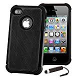 32nd ShockProof Series - Dual-Layer Shock and Kids Proof Case Cover for Apple iPhone 4 & 4S, Heavy Duty Defender Style Case - Black