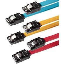 Set de 3 Cables S-ATA SATA 3 HDD / SSD Cable de datos PREMIUM cada uno con enchufes de Clip rectos de 7-pin / Longitud: 0,5m / Transmisión de datos rápida de hasta 6 Gbit/s / color: amarillo,