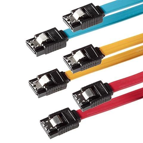SET - 3x câble SATA 3 Poppstar SATA 3 HDD - SSD PREMIUM câble de données avec chacune 2x fiches clip droite de 7 broches- Longueur-0,5m - transfert de données rapide jusqu'à 6 Gbit-s - couleur- jaune-rouge- bleu