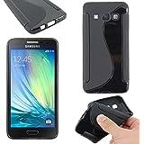ebestStar - pour Samsung Galaxy A3 SM-A300F (2015) - Housse Etui Coque Silicone Gel Motif S-line Souple, Couleur Noir [Dimensions PRECISES de votre appareil : 130.1 x 65.5 x 6.9 mm, écran 4.5'']