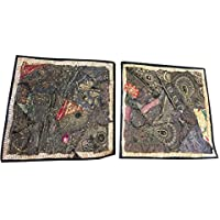 "Mogul Interior 2Pcs Cushion Cover Handmade Sequin Embroidery Floor Pillow Case Decor 16X16"" (Black-12)"