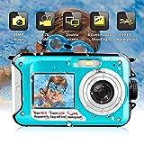 Fotocamera Subacquea Digitale Fotocamera Subacquea 2.7K FHD 48MP con Impermeabile Selfie Doppio Camera Videocamera Schermo