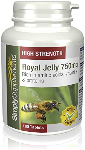 Royal Jelly 750mg by SimplySupplements | For Healthy Looking Skin | 180 Tablets | 100% money back guarantee | Manufactured in the UK Test