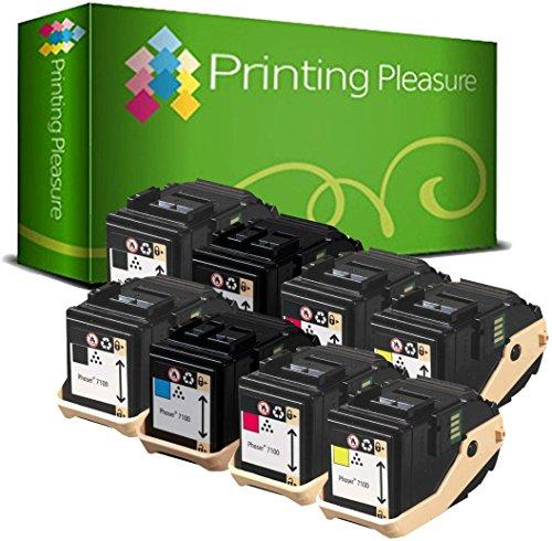 8 Toner kompatibel für Xerox Phaser 7100 7100N 7100DN 7100V/N 7100V/DN - Schwarz/Cyan/Magenta/Gelb, hohe Kapazität (BK 5.000 & C/M/Y 4.500 Seiten) -