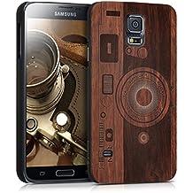 kwmobile Funda dura de madera palo de rosa para Samsung Galaxy S5/S5 Neo/S5 LTE+/S5 Duos Carcasa protectora de móvil Diseño Cámara en marrón oscuro