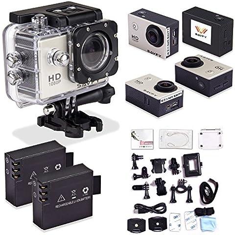 SAVFY® 30M Full HD SJ4000 1080P Cámara de Deporte / Videocámara de Acción / Action Sport Camera Waterproof / DVR Cámara 12 Mega Pixel 170 ° HD gran angular, con la Funda impermeable Soporta múltiples + 21 ACCESORIOS DISPONIBLES - Plata