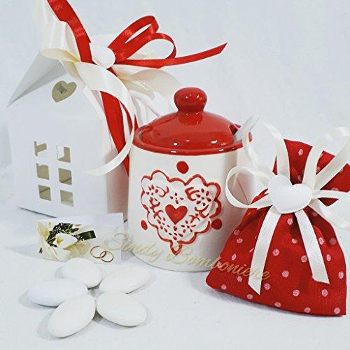 Bomboniere matrimonio zuccheriera con cuori elegante ed utile complete di confezione