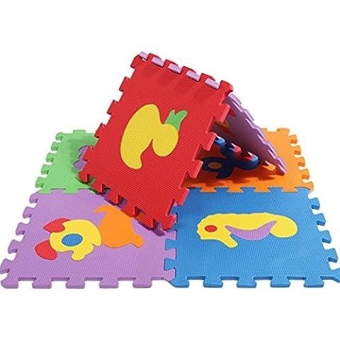 Finer Shop Puzzle Niños Linda Animals 10 Baldosas con Bordes Juega Estera de la Espuma (30 * 30
