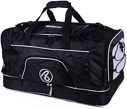 Brubaker \'Big Base\' XXL Sporttasche 90 L mit großem Nassfach als Bodenfach + Schuhfach - Schwarz