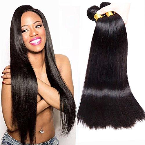 Musi Brazilian Virgin Straight Hair 4 Bundles Human Hair 100% Unverarbeitete Reine Brasilianische Gerade Menschenhaar Extensions Glattes Haar Bundles 400g Natural Black (20 22 24 26 Zoll)