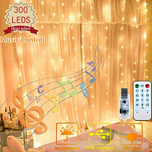 300 LED Curtain Lights, USB Plug Window Lights, 4 Music & 8 Lighting Modes Remote Control Fairy Light Waterproof LED Copper String Lights for Outdoor Indoor Wedding Party Bedroom Decor (Warm White)