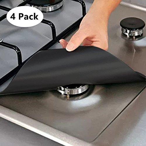 Miyare Lot de 4 Protection de Gazinière Cuisinière Tissu en Fibre Réutilisable -70 ℃ ~ +260 ℃ Facile à Nettoyer (Noir)