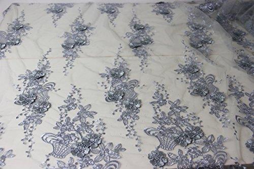 3D-Spitzenstoff, 3D-Blumen, Braut, Hochzeit, 130cm breit, 45 cm K1 silver 3D