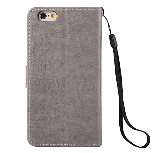 Phone case & Hülle Für iPhone 6 Plus / 6s Plus, Crazy Horse Texture Printing Horizontale Flip Leder Tasche mit Halter & Card Slots & Wallet & Lanyard ( Color : Grey ) Grey