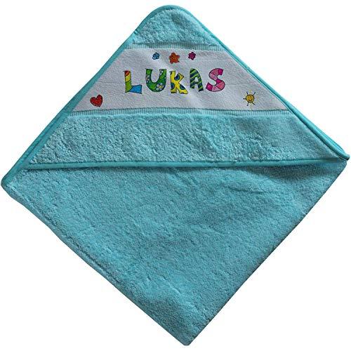 Kinder Kapuzen-Handtuch mit Name | blau für Jungen