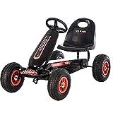 Lvbeis Kids Go-Kart-Fahren Mit Aufblasbarer Reifen Tretauto Indoor Outdoor Tretfahrzeug Verstellbarer Kettcar Sitz FüR 5 Bis 14 Jahre,Black