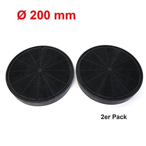 2er Pack Universal Longlife Aktivkohle Filter Ø 20 cm geeignet für viele Dunstabzugshauben Backofen wie AEG, Bosch, Electrolux, Ikea, Juno und Zanussi Farbe schwarz