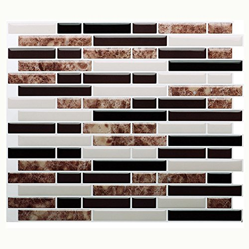 "Vamos Tile Premium Anti Mold Peel and Stick Tile Backsplash,Stick On Backsplash Wall Tiles for Kitchen & Bathroom-Removable,Self Adhesive-11"" x 9.25"" (6 Sheets)"