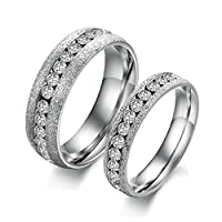 His & Her 2 Pcs Stainless Steel Couples Wedding Rings Valentine's Day Gifts Women Size J 1/2 & Men Size T 1/2