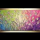 HANDBEMALT Landschaft abstrakt Palette Tulpen auf Pink Grün Blau Violett Ölgemälde Leinwand Family Wandtattoo Wohnzimmer Art, canvas, blau / grün, 32x64inch(80x160cm)