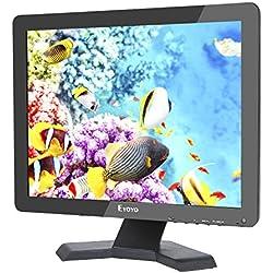 """15 Pouces Moniteur Écran TFT LED 4:3 Ultra-mince Moniteur Vidéo HD de Surveillance Résolution 1024x768 Support TV / VGA / USB / HDMI / BNC Télécommande (15"""" 1024x768 LCD)"""
