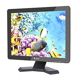 15 Pouces Moniteur Écran TFT LED 4:3 Ultra-mince Moniteur Vidéo HD de Surveillance Résolution 1024x768 Support TV / VGA / USB / HDMI / BNC Télécommande (15