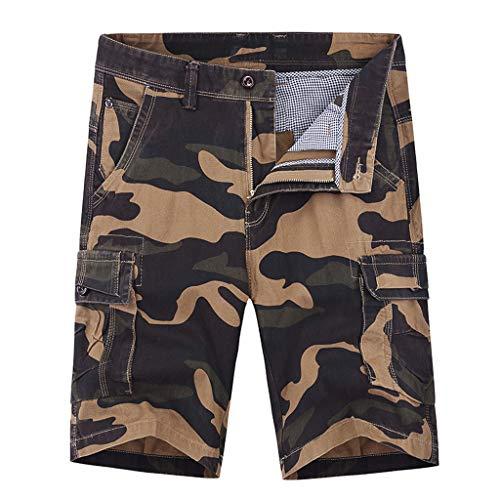 TIMEMEAN Shorts Herren Camouflage Cargohose Baumwolle Multi-Pocket Arbeitshose Ladung Reißverschluss Freizeithose Kurz Hose Big Star Bootcut Jeans